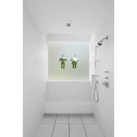 Contemporary Male & Female Symbol Cut Out Bespoke Custom Frosted Bathroom Window Film B04