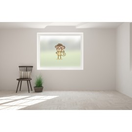 Monkey Print Bespoke Custom Frosted Children Window Film C09