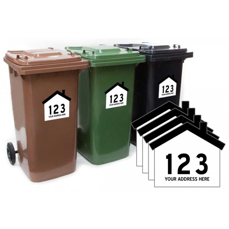 House Shaped Wheelie Bin Number And Road Name 4 Pack
