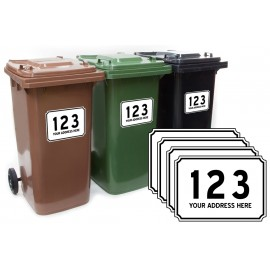 Custom Personalised Plaque Wheelie Bin Number and Road Name Sticker 4 pack