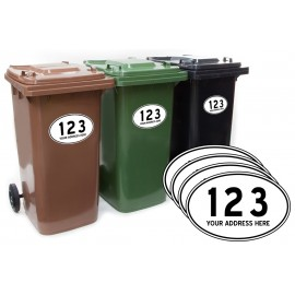 Custom Personalised Oval Wheelie Bin Number and Road Name 4 pack