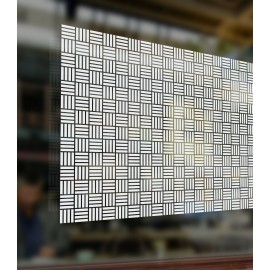 Patterned Decorative White Frosted Window Film - Privacy Frosted Glass Film CUBIC / SQUARE PATTERN