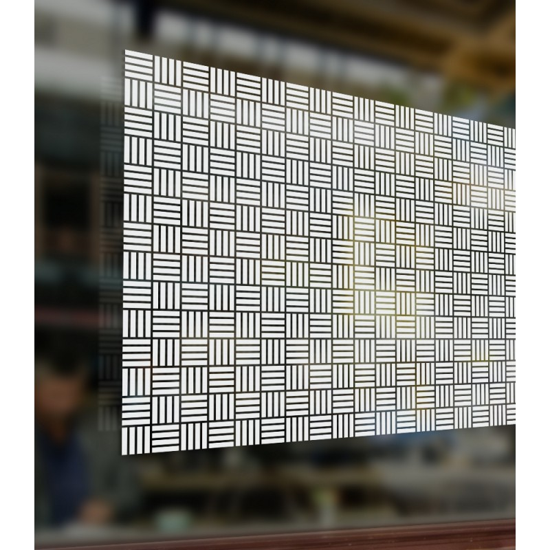 Patterned Decorative White Frosted Window Glass Film Cubic