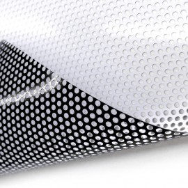 One way vision printable, a self adhesive perforated vinyl window film, custom bespoke privacy