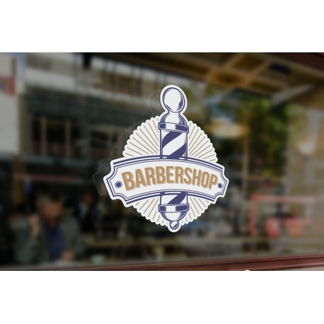 Bespoke barber shop sign window sticker a high quality vinyl sticky back plastic decal