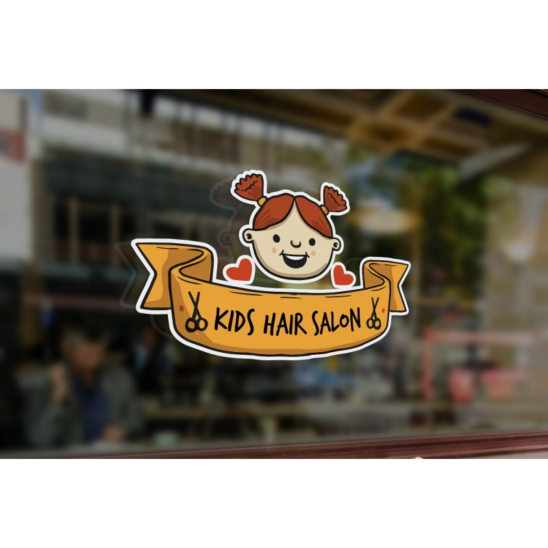Bespoke Kids Hair Salon Sign Window Sticker A High