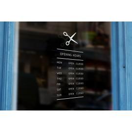 B10 - Bespoke scissors silhouette opening hours, vinyl cut window sticker, contour cut, for commercial windows/glass or walls.