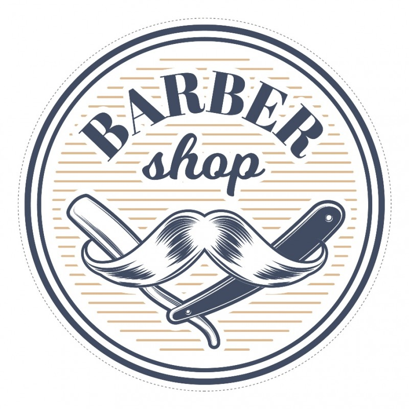 Bespoke round barber shop sign window sticker a high quality vinyl sticky back plastic