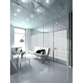 Patterned Decorative White Frosted Window Film - Privacy Frosted Glass Film Large BLOCK pattern