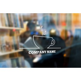 C5 - Personalised cafe sign, vinyl cut window sticker, contour cut, for commercial windows/glass or walls.