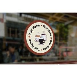 C8 - Bespoke round cafe, coffee cups window sticker, high quality, vinyl sticky back plastic, Commercial Window Glass Stickers