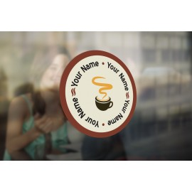 C10 - Customisable round coffee mug window sticker, high quality, vinyl sticky back plastic, Commercial Window Glass Stickers