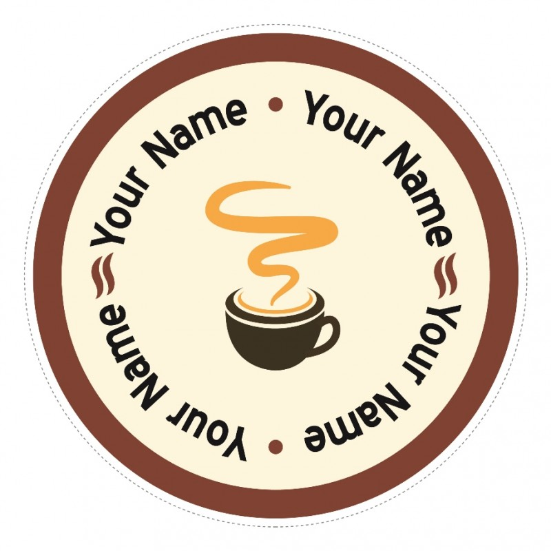 C10 customisable round coffee mug window sticker high for Natural stone coffee mugs