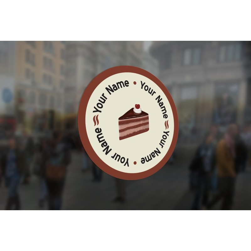 C11 Customisable Round Cake Slice Window Sticker High