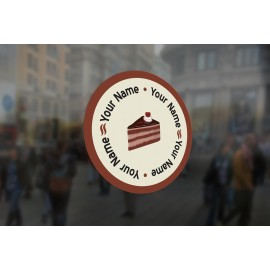 C11 - Customisable round cake slice window sticker, high quality, vinyl sticky back plastic, Commercial Window Glass Stickers