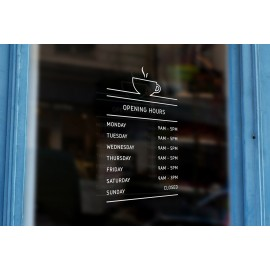 C14 - Bespoke coffee cup silhouette opening hours, vinyl cut window sticker, contour cut, for commercial windows/glass or walls.