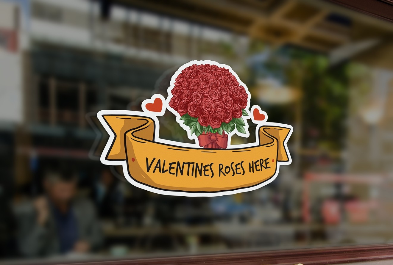 G10 bespoke valentines roses sign window sticker a high quality vinyl sticky plastic decal commercial window glass stickers jpg