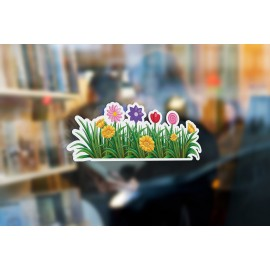 G11 - Bespoke flowers & grass window sticker, a high quality, vinyl sticky plastic decal, Commercial Window Glass Stickers