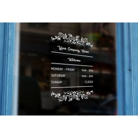 J2 - Bespoke vintage border, company name & opening hours, vinyl cut window sticker, for commercial windows/glass or walls.