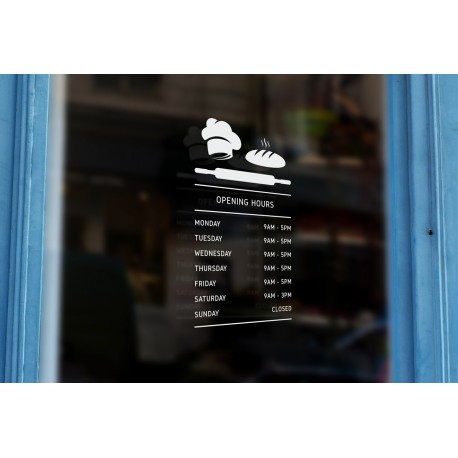 BK6 - Bespoke bread, rolling pin silhouette opening hours, vinyl cut sticker, contour cut, for commercial windows/glass