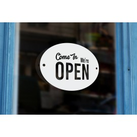 LS6 - Bespoke grocery store open sign, vinyl cut window sticker, contour cut, for commercial windows/glass or walls.