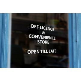 LS9- Bespoke 'Off licence, Open till late', vinyl cut window sticker, contour cut, for commercial windows/glass or walls.