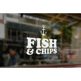 TR6 - Bespoke chip shop sign, vinyl cut window sticker, contour cut, for commercial windows/glass or walls.