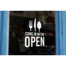 TR15 - Bespoke restaurant open sign, vinyl cut window sticker, contour cut, for commercial windows/glass or walls.