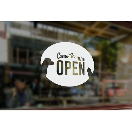 P12 Bespoke Pet Shop Vets Open Sign Vinyl Cut Window