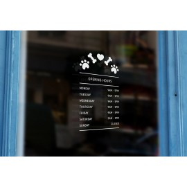 P15 - Bespoke pet shop / vets opening hours, vinyl cut window sticker, contour cut, for commercial windows/glass or walls.