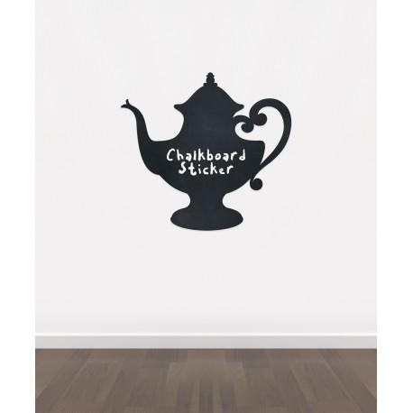 BB17 - Bespoke tea pot chalkboard sticker, beautiful blackboard vinyl cut sticker, self adhesive easy install