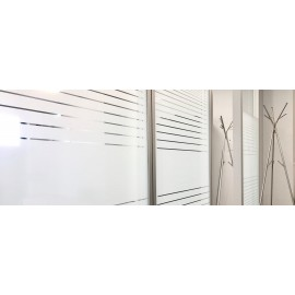 Patterned Decorative White Frosted Window Film - Privacy Frosted Glass Film FR10 LINE 10 MIL PATTERN