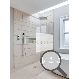 Bespoke cut out anchor repeated pattern, custom, decorative, frosted bathroom window film.