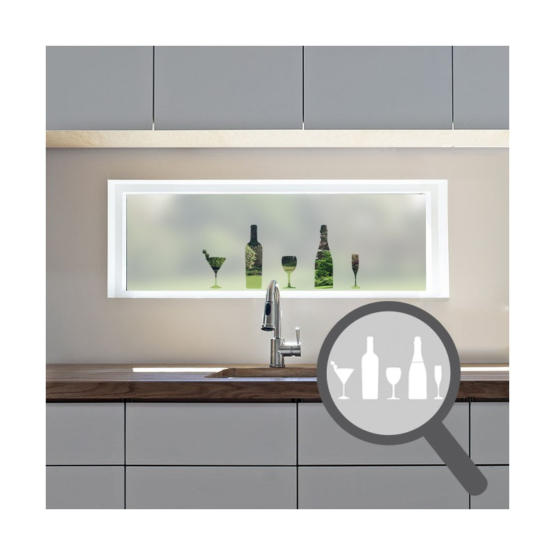 Kitchen Windows Boxed Out: Wine Glass & Bottle Cut Out, Bespoke, Custom, Frosted