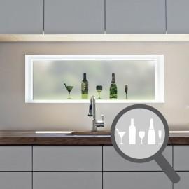 Wine glass & bottle cut out, bespoke, custom, frosted kitchen window film