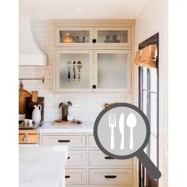 Cutlery cut out, bespoke, custom, frosted kitchen window film