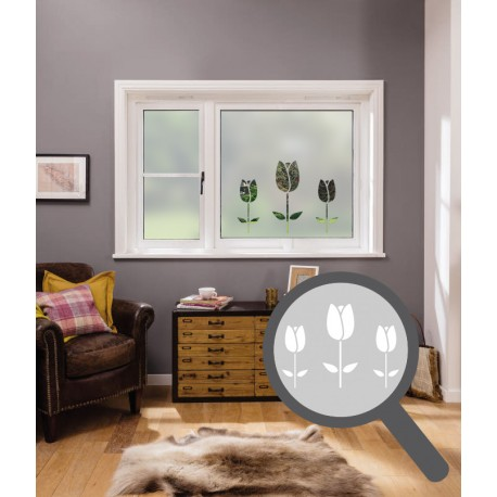 Tulips cut out, bespoke, custom, frosted home window film