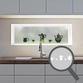 Coffee, tea pot & cups cut out, bespoke, custom, frosted kitchen window film