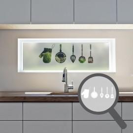 Kitchen utensils cut out, bespoke, custom, frosted kitchen window film