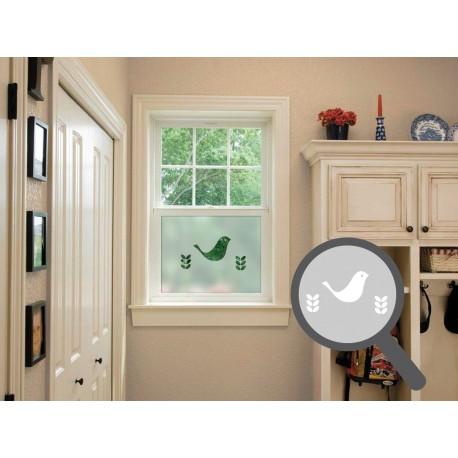 Bird & sapling cut out, bespoke, custom, frosted animal window film