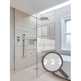 Bespoke cut out beach ball repeated pattern, custom, decorative, frosted bathroom window film.