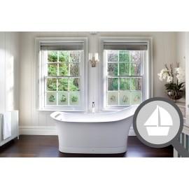 Bespoke cut out boat, custom, decorative frosted bathroom window film.