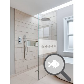 Bespoke cut out fishes repeated pattern, custom, decorative, frosted bathroom window film.