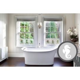Bespoke cut out seahorse, custom, decorative frosted bathroom window film.