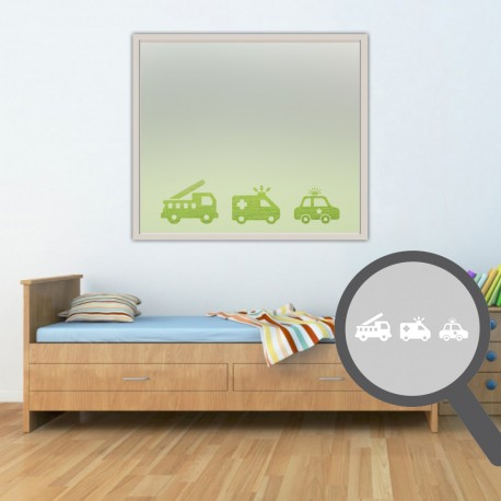 Firetruck, ambulance & police car cut out, bespoke, custom, frosted childrens window film