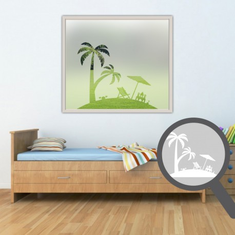 Beach Scene Cut Out Bespoke Custom Frosted Nature Window Film