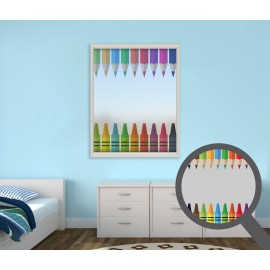 Colourful Crayons, printed, bespoke, custom, frosted colourful window film