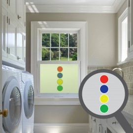 Vertical Multi Coloured Circles Cut Out Bespoke Custom Frosted Window Film