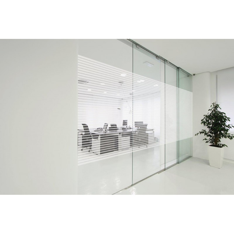 Patterned Decorative White Window Film Frosted Glass Film Line Pattern