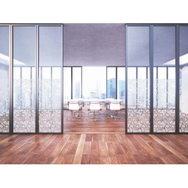 Contemporary Square Pattern Window Film, Frosted Vinyl Privacy Glass Cover, FI